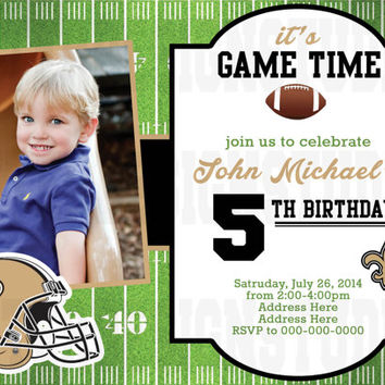 Football New Orleans Saints Birthday Invitation (ANY TEAM) - Printable Digital file