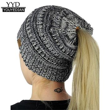 Winter Autumn Beanies Women Baggy Warm Crochet Wool Knit Beanie Skull Slouchy Caps Horsetail Hats Female bonnet femme *1030