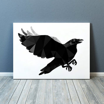 Raven poster Geometric art Wall decor Bird print TOA67