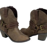 Cowbow Ankle Bootie (5.5, blondpu) [Apparel]