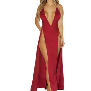 Burgundy Deep V Plunge Maxi Dress w/ High Leg Slits Resort Wear (Pink also available)