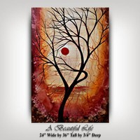 PAINTING, Landscape Painting on Canvas by Nandita Albrigjht Red Abstract Art, Modern Art, Tree Painting, Large Wall Art, Office Decor Gifts