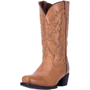 Laredo Mens Bryce Burnished Tan Leather Western Cowboy Boot