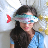 Lavender Fish - Organic Flax and Lavender Eye Pillow - Rainbow Trout