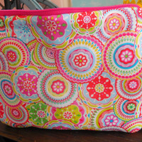 Sunny and Bright Circle Flower Printed Zipper Pouch
