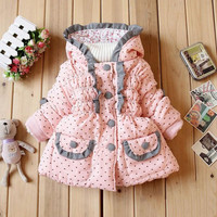 Children's clothing Autumn and winter New product Girls Lace small love coat Fashion baby Keep warm Cotton-padded clothes