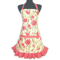 Red Poppies Floral Apron for women , Retro Kitchen Decor ,