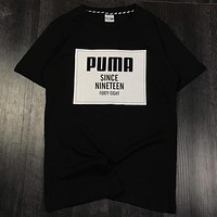 PUMA 2019 new men's round neck casual breathable sports T-shirt Black