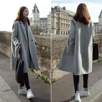Winter Women Slim Warm Wool Lapel Trench Parka Long Coat Jacket Overcoat Outwear