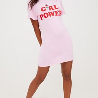Pink Girl Power T Shirt Dress