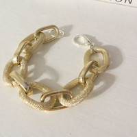 Light Gold Toned faux Pave Large thick and chunky Chain link Bracelet - statement jewelry, bridesmaid, bride, bridal gift