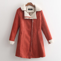 Red Long-Sleve Suede Leather Coat With Pocket