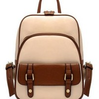 Letterpress Era Vintage Preppy Two Toned Multi-Compartment Backpack in Beige | Sincerely Sweet Boutique