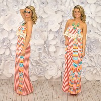 Ray of Sunshine Maxi Dress in Coral