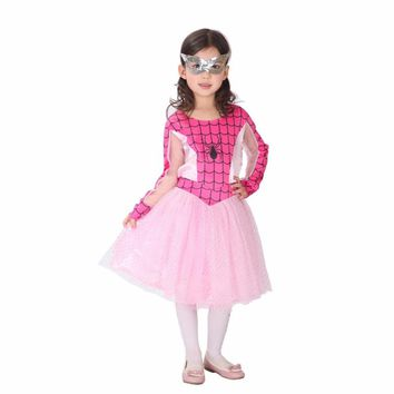 Baby Girls Halloween Christmas Birthdays Cosplay Costume Party Pink Spider Dress Masquerade Clothes For Children Girls Costume