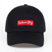 Rick and Morty Get Schwifty Black & Red Embroidered No Structure Cotton Dad Hat