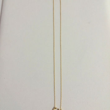 Sideways Sterling Gold Anchor Necklace