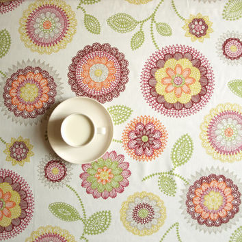 Tablecloth white yellow red green flowers Floral Decor Scandinavian Design , runner , napkins , curtains , pillows available, great GIFT