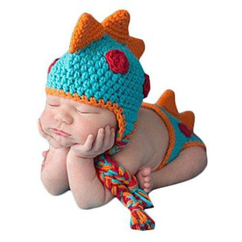 A MSFS Baby Crochet Knitted Photo Photography Props Handmade Baby Hat Diaper Outfit (Dinosaur)