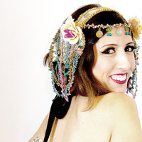 Dance headdress, Tribal Fusion head piece, Belly dance Hair Accessories, Gold hair clip