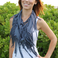 Super Soft Fringe Infinity Scarf in Charcoal