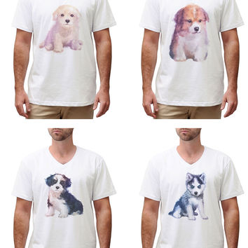 Men Dog hand painted watercolor Graphic Printed Cotton T-shirt MTS_02