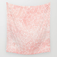 Rose quartz and white zentangles Wall Tapestry by Savousepate