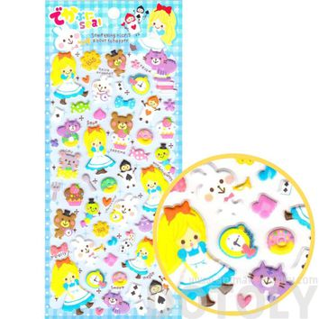 Alice in Wonderland Bunny Cat Teacup Fairy Tale Themed Spongy Stickers for Scrapbooking