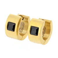 Edforce Stainless Steel Gold Plated Huggie Earring with Square Black Stone