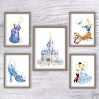 Cinderella watercolor print Set of 5 Cinderella poster Disney wall decor Kids room wall art Wall hanging decor Girls room decoration V464