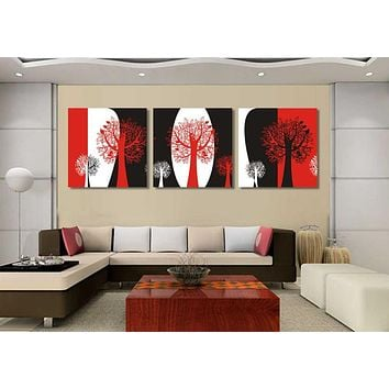 Unframed Abstract black and red and white  still life 3 panels canvas wall art tree oil paintings for living room wall pictures