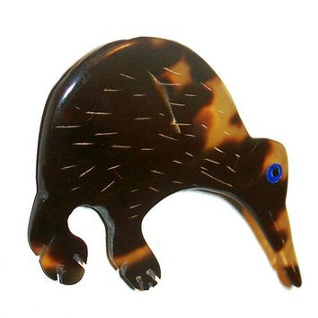 "Tortoise Anteater Animal Brooch Pin Celluloid Material Blue Eye 2 1/4"" Vintage"