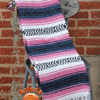"Vintage Mexican Blanket, Pink/Blue Yoga Mat, Multi-Purpose XL blanket 78"" x 50"""