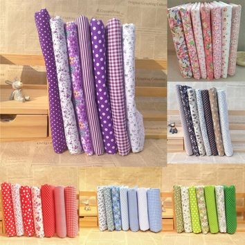 New 7Pcs/Set Quilting Fabric Floral Cotton Cloth DIY Craft Sewing Handmade Accessory