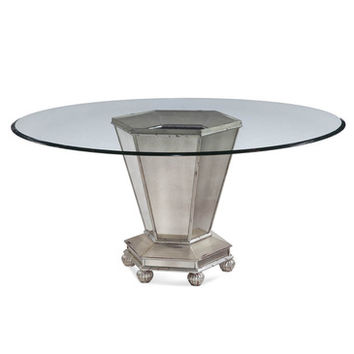 Bassett Mirror Reflections Round Mirrored Dining Table in Antique Cream