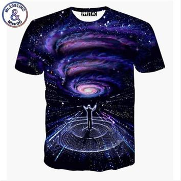 2017 Newest galaxy space printed creative t shirt 3d men's tshirt summer novelty 3D feminina psychedelic tee shirts clothes