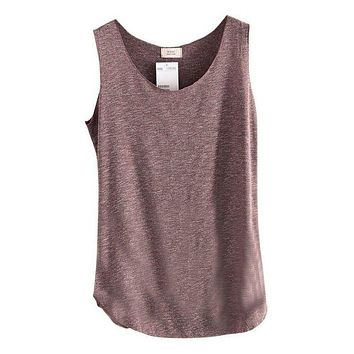 Latest Casual Ladies Casual Vest Loose Cotton Sleeveless Womens Tank Top Solid Basic Summer Tee