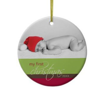 Baby's 1st Christmas Custom Ornament (green) from Zazzle.com