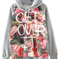 Sheinside® Women's Grey Hooded Floral Letters Print Sweatshirt