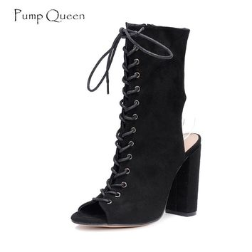 Peep Toe Lace Up Summer Boots