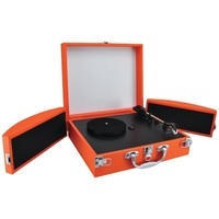 PYLE PRO PVTTBT8OR Bluetooth(R) Classic Vinyl Record Player Turntable with Fold-Out Speakers & Vinyl to MP3 Recording (Orange)
