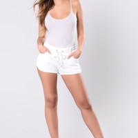 Be My Life Shorts - White