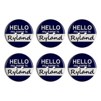 Ryland Hello My Name Is Plastic Resin Button Set of 6
