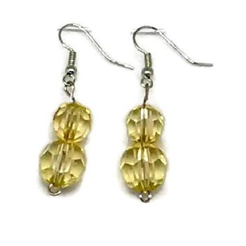 Light Yellow Double Faceted Round Beaded Earrings