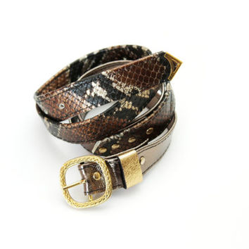 Metallic leather & Bronze snake leather belt - Ready to Ship