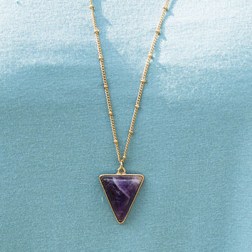 Bermuda Triangle Purple Triangle Gold Chain Necklace