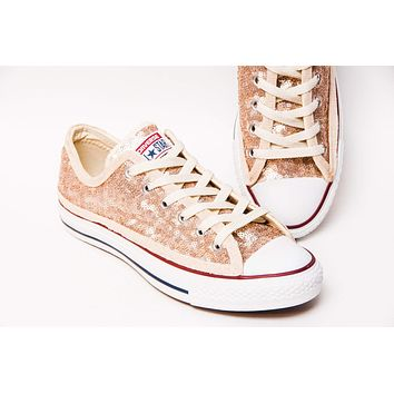 Champagne Sequin Low Top Sneakers