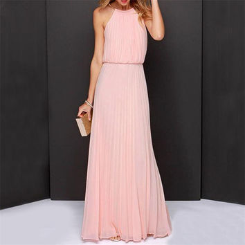 Summer Women Sexy Long Evening Party Dresses Halter Elegant Casual Cut Pleat Chiffon Maxi Boho Beach Sun Dress Vestido de festa