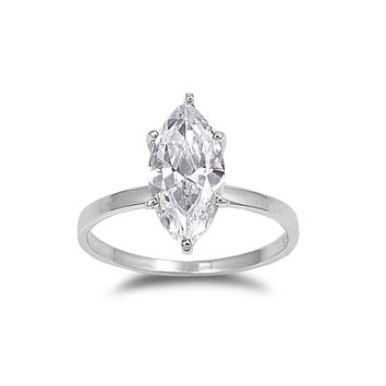 925 Sterling Silver CZ Classic Marquise Solitaire Ring 15MM