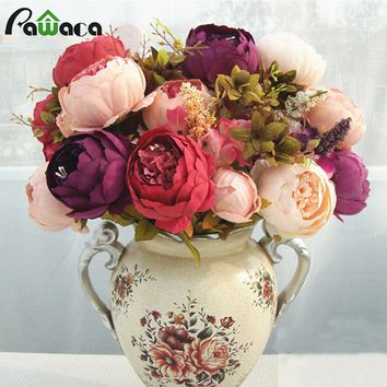 Home Decorative Flowers European Artificial Silk Flowers China 13 Branches Fall Fake Vivid Peony For Wedding Party Decoration